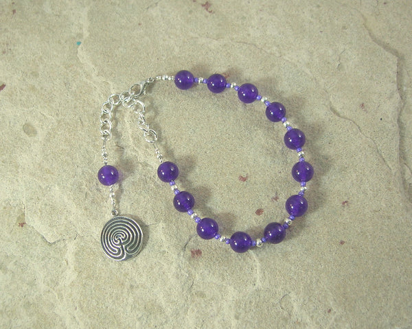Ariadne Prayer Bead Bracelet in Amethyst: Greek Goddess, Mistress of the Labyrinth