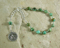 Aristaios Prayer Bead Bracelet in African Turquoise: Greek God of Excellence and Useful Arts - Hearthfire Handworks