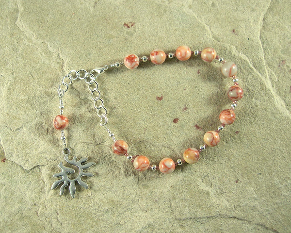 Eos Prayer Bead Bracelet in Red-lined Marble: Greek Goddess of the Dawn - Hearthfire Handworks