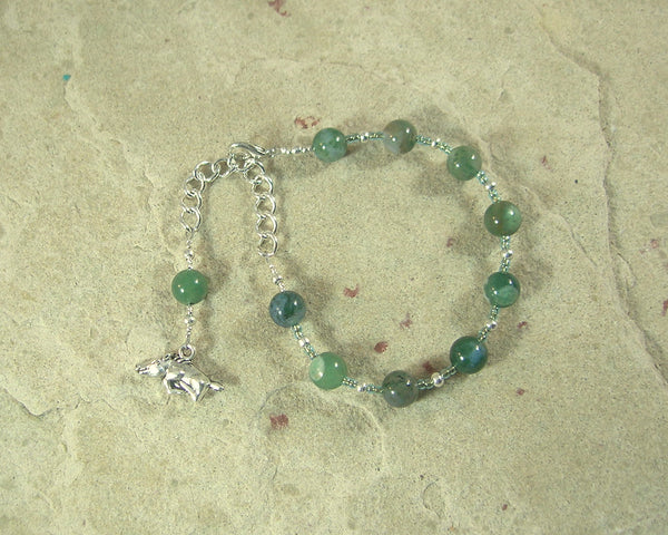 Frey Prayer Bead Bracelet in Moss Agate: Norse God of Fertility, Passion, Abundance, Prosperity