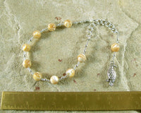 Freyja (Freya) Prayer Bead Bracelet in Mother of Pearl: Norse Goddess of Love, War, Passion, and Magic - Hearthfire Handworks