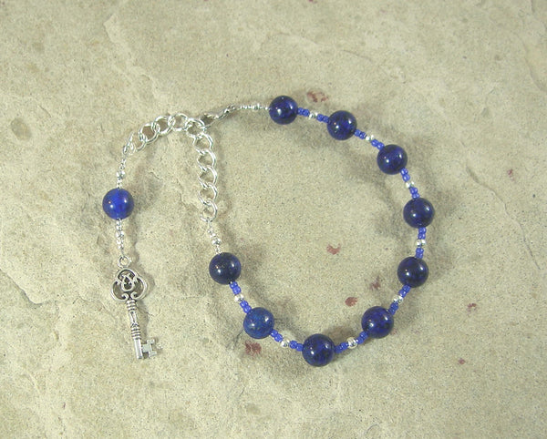 Frigga Prayer Bead Bracelet in Lapis Lazuli: Norse Goddess of Wisdom, Weaving