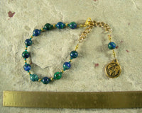 Gaia Prayer Bead Bracelet in Azurite/Malachite: Mother Earth, Mother of the Greek Gods - Hearthfire Handworks