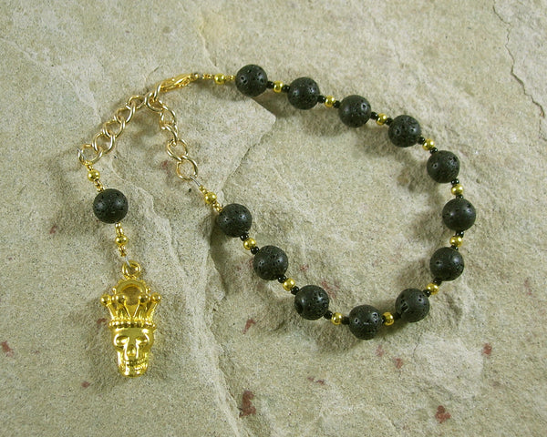 Hades Prayer Bead Bracelet in Black Lava Stone: Greek God of Death and the Afterlife - Hearthfire Handworks