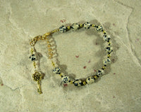 Hekate Prayer Bead Bracelet in Dalmation Jasper:  Greek Goddess of Magic and Witchcraft - Hearthfire Handworks