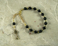 Hekate Prayer Bead Bracelet in Rainbow Obsidian: Greek Goddess of Magic and Witchcraft - Hearthfire Handworks
