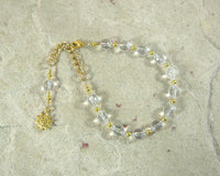 Helios (Helius) Prayer Bead Bracelet in Clear Quartz: Greek God of the Sun - Hearthfire Handworks