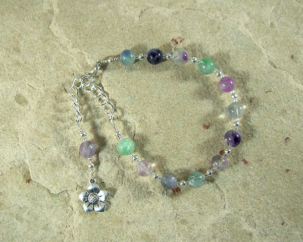 Hypnos Prayer Bead Bracelet in Rainbow Fluorite: Greek God of Sleep - Hearthfire Handworks