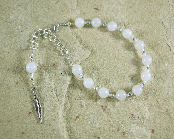 Ma'at Prayer Bead Bracelet in Snow Quartz: Egyptian Goddess of Truth, Justice, and Order - Hearthfire Handworks