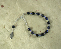 Nyx Prayer Bead Bracelet in Blue Goldstone: Greek Goddess of the Night