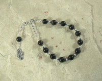 Nyx Prayer Bead Bracelet in Golden Obsidian: Greek Goddess of the Night