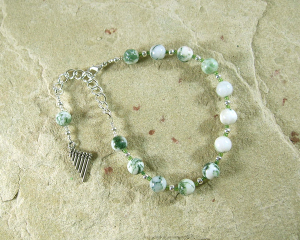 Pan Prayer Bead Bracelet in Tree Agate:  Greek God of the Forest, Mountains, Country Life - Hearthfire Handworks