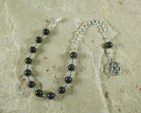 Pentacle Prayer Bead Bracelet in Blue Goldstone - Hearthfire Handworks