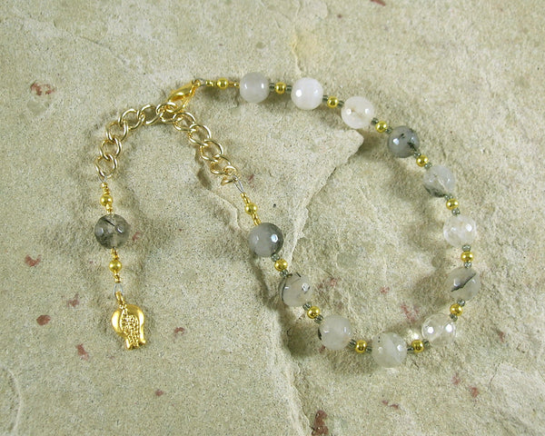 Persephone Prayer Bead Bracelet in Rutilated Quartz: Greek Goddess of Spring, Renewal, Death - Hearthfire Handworks