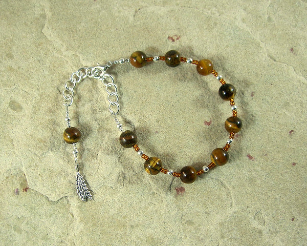 Sif Prayer Bead Bracelet in Tiger Eye: Norse Goddess of Abundance and Fertility - Hearthfire Handworks