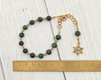 Tyche (Fortuna) Prayer Bead Bracelet in Ruby-Zoisite: Greek Goddess of Luck, Chance, Prosperity