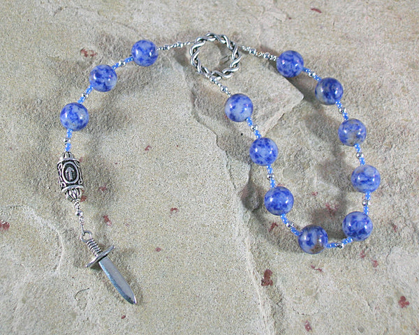 Tyr (Tiwaz) Pocket Prayer Beads in Blue Agate: Norse God of Justice, Law and War - Hearthfire Handworks