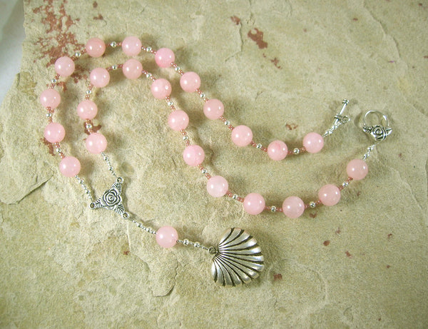 Aphrodite Prayer Bead Necklace in Rose Quartz: Greek Goddess of Love, Passion, Beauty - Hearthfire Handworks