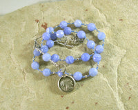 Athena Prayer Bead Necklace in Blue Lace Agate:  Greek Goddess of Wisdom, Weaving, War - Hearthfire Handworks
