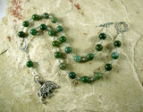 Frey (Freyr) Prayer Bead Necklace in Moss Agate:  Norse God of Fertility,  Abundance, Prosperity - Hearthfire Handworks