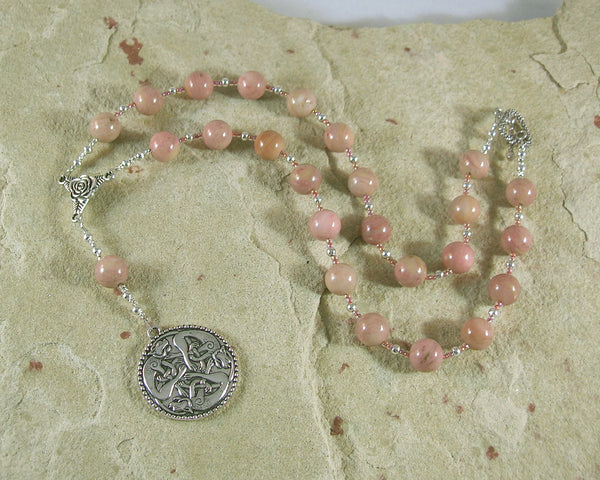Freyja (Freya) Prayer Bead Necklace in Rhodonite: Norse Goddess of Love, War and Magic - Hearthfire Handworks