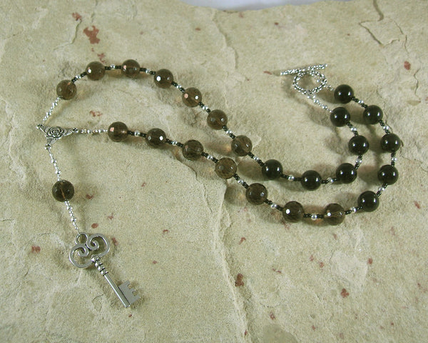 Hekate Prayer Bead Necklace in Smoky Quartz and Black Onyx:  Greek Goddess of Magic, Witchcraft - Hearthfire Handworks
