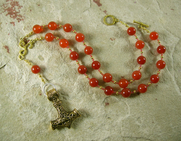 Thor Prayer Bead Necklace in Carnelian:  Norse God of Thunder, Protector of Humanity - Hearthfire Handworks