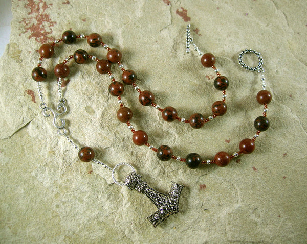 Thor Prayer Bead Necklace in Mahogany Obsidian:  Norse God of Thunder, Protector of Humanity - Hearthfire Handworks