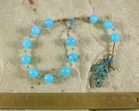 Aegir Pocket Prayer Beads in Aquamarine: Norse God of the Sea, Brewing, and Hospitality - Hearthfire Handworks