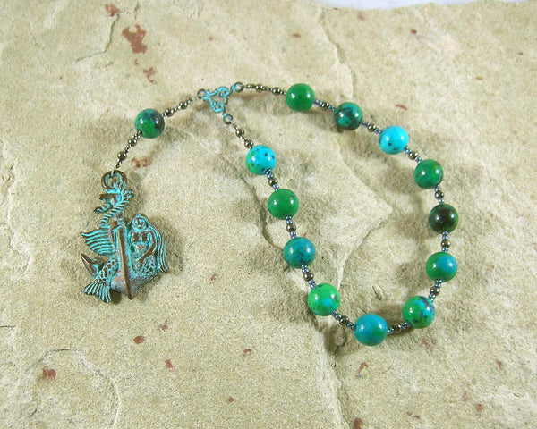 Amphitrite Pocket Prayer Beads in Chrysoprase: Greek Goddess, Queen of the Seas - Hearthfire Handworks