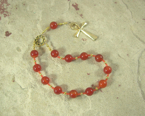Ankh Pocket Prayer Beads in Carnelian: Egyptian Symbol for Life