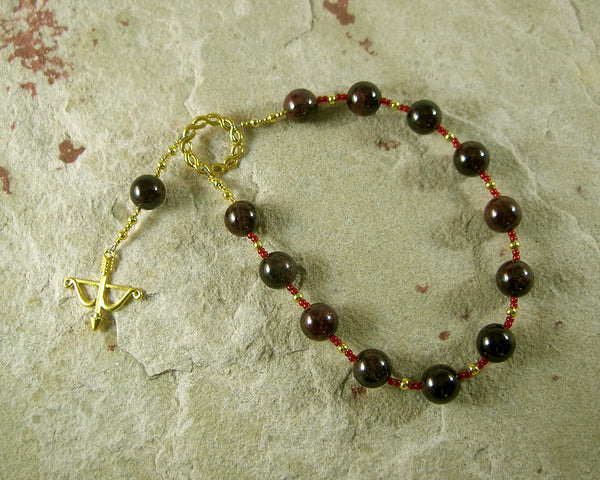 Apollo Pocket Prayer Beads in Garnet: Greek God of Music and the Arts, Health and Healing - Hearthfire Handworks