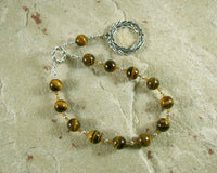 Apollo Pocket Prayer Beads in Tiger Eye: Greek God of Music and the Arts, Health and Healing - Hearthfire Handworks