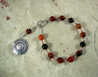 Ares Pocket Prayer Beads in Sardonyx: Greek God of War, Battle, Courage, Patron of Soldiers - Hearthfire Handworks
