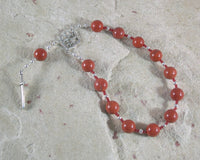 Ares Pocket Prayer Beads in Red Jasper: Greek God of War, Battle, Courage, Patron of Soldiers - Hearthfire Handworks