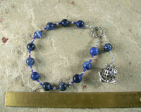 Athena Pocket Prayer Beads in Sodalite: Greek Goddess of Wisdom, Weaving, War - Hearthfire Handworks