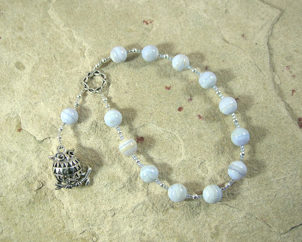 Athena Pocket Prayer Beads in Blue Lace Agate: Greek Goddess of Wisdom, Weaving, War - Hearthfire Handworks