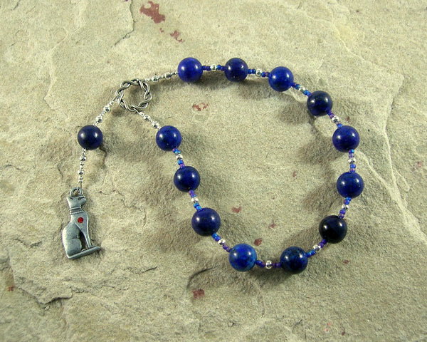 Bast Pocket Prayer Beads in Lapis Lazuli: Egyptian Goddess of Joy, Love, Music and Dance - Hearthfire Handworks