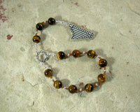 Bragi Pocket Prayer Beads in Tiger Eye: Norse God of Poetry and Inspiration - Hearthfire Handworks