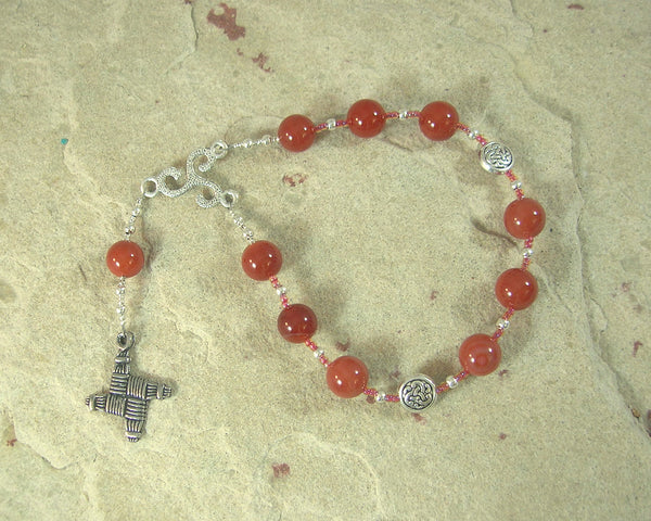 Brigid Pocket Prayer Beads in Carnelian: Irish Celtic Goddess of Poetry, Crafts, Healing