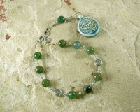 Cernunnos (Kernunnos) Pocket Prayer Beads in Moss Agate: Gaulish Celtic God of Nature and Beasts - Hearthfire Handworks