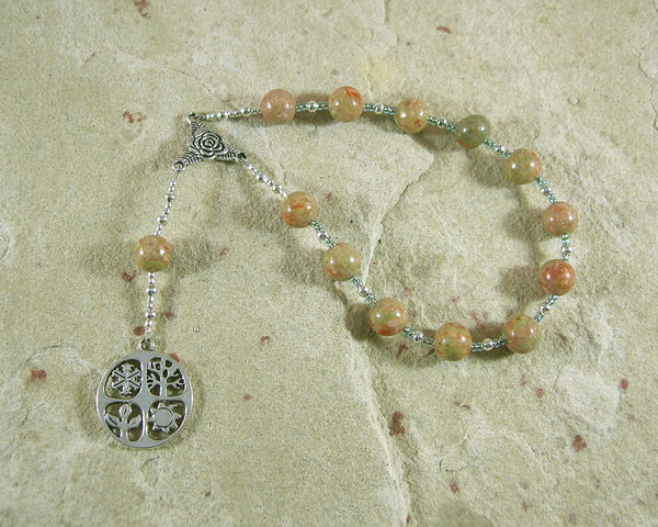 Demeter Pocket Prayer Beads in Unakite: Greek Goddess of Grain, the Harvest, the Seasons - Hearthfire Handworks