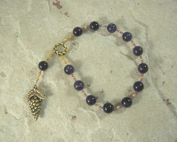 Dionysos (Dionysus, Bacchus) Pocket Prayer Beads in Amethyst: Greek God of Wine, Theater, Ecstasy