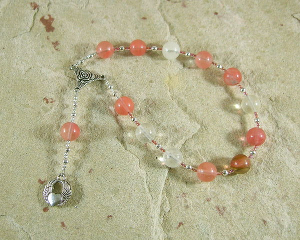 Eros Pocket Prayer Beads in Cherry Quartz: Greek God of Love, Lust, and Passion - Hearthfire Handworks