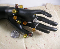 Freyja (Freya) Pocket Prayer Beads in Amber: Norse Goddess of Love, War and Magic - Hearthfire Handworks