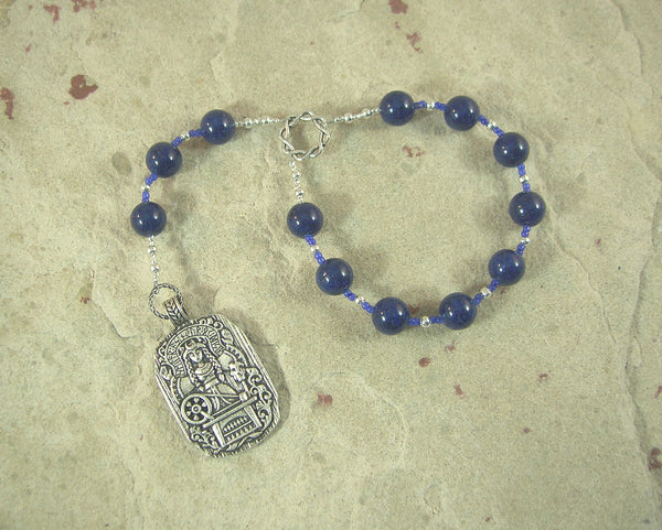 Frigga  Pocket Prayer Beads in Lapis Lazuli: Norse Goddess of Wisdom, Weaving, Good Management
