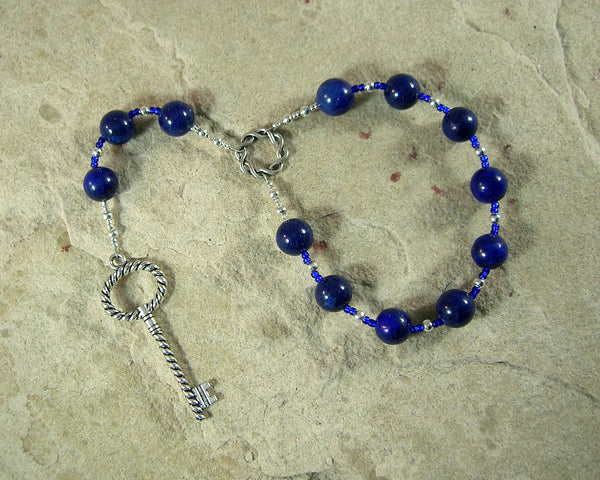 Frigga  Pocket Prayer Beads in Lapis Lazuli: Norse Goddess of Wisdom, Weaving, Good Management - Hearthfire Handworks