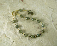 Hades Pocket Prayer Beads in Labradorite (Black Moonstone): Greek God of Death and the Afterlife - Hearthfire Handworks