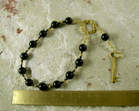 Hekate (Hecate) Pocket Prayer Beads in Black Onyx: Greek Goddess of Magic and Witchcraft - Hearthfire Handworks