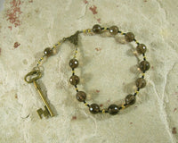 Hekate (Hecate) Pocket Prayer Beads in Smoky Quartz: Greek Goddess of Magic and Witchcraft - Hearthfire Handworks